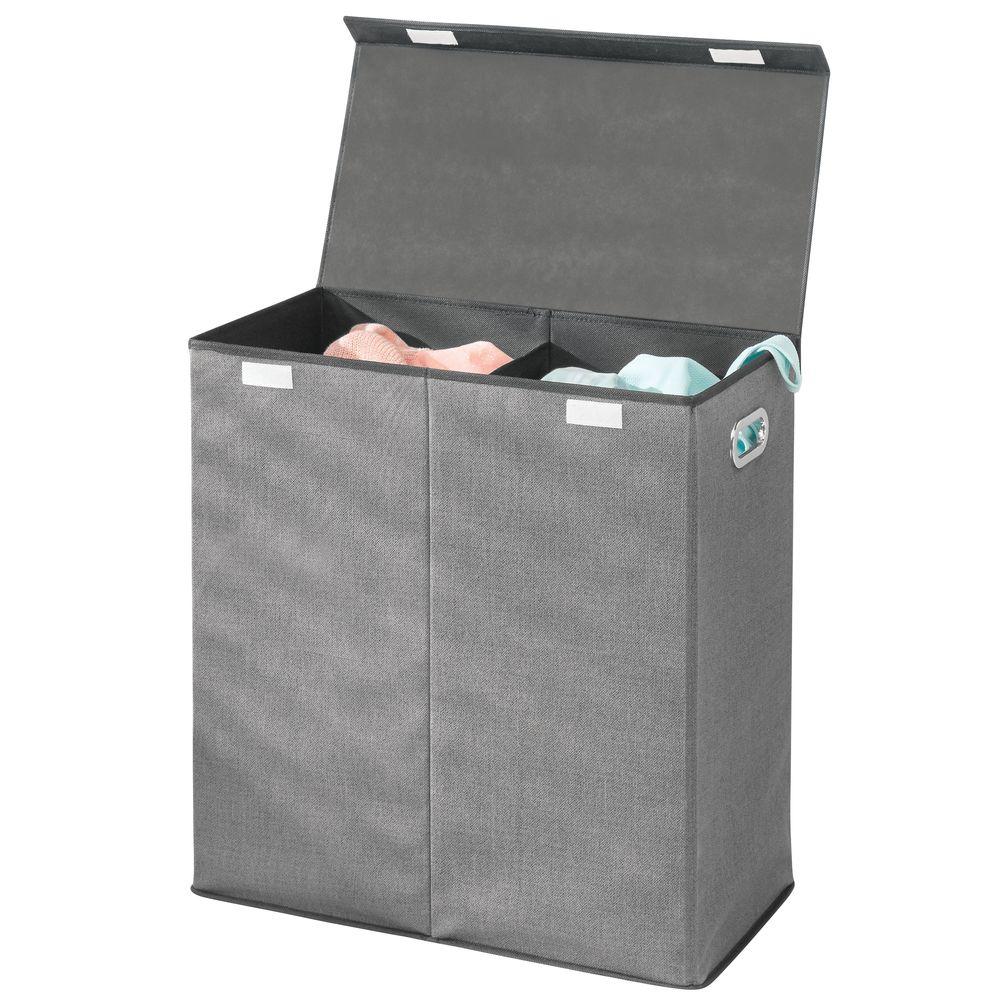 2 Section Collapsible Laundry Hamper Basket Sorter in Charcoal/Black, 12