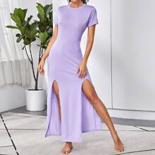 Split Thigh Solid Fitted Dress