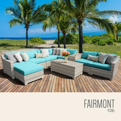 FAIRMONT-10b-ARUBA Fairmont 10 Piece Outdoor Wicker Patio Furniture Set 10b with 2 Covers: Beige and