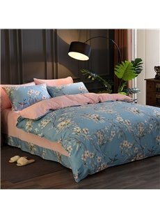 American Country Style Cotton and Flannel Warm Zipper Duvet Cover Set 4pcs Pastoral Bedding Full/Queen Size