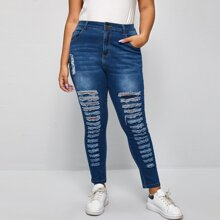 Plus High Waist Ripped Skinny Jeans