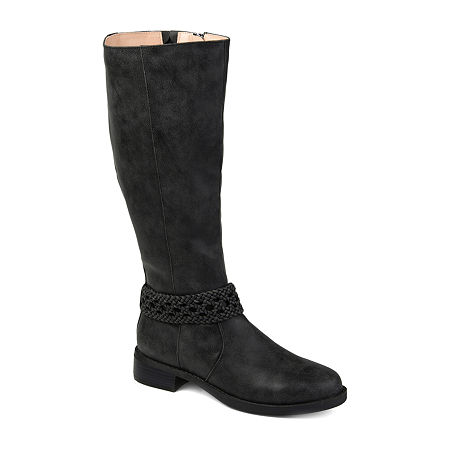 Journee Collection Womens Paisley Wide Calf Stacked Heel Riding Boots, 9 Medium, Black