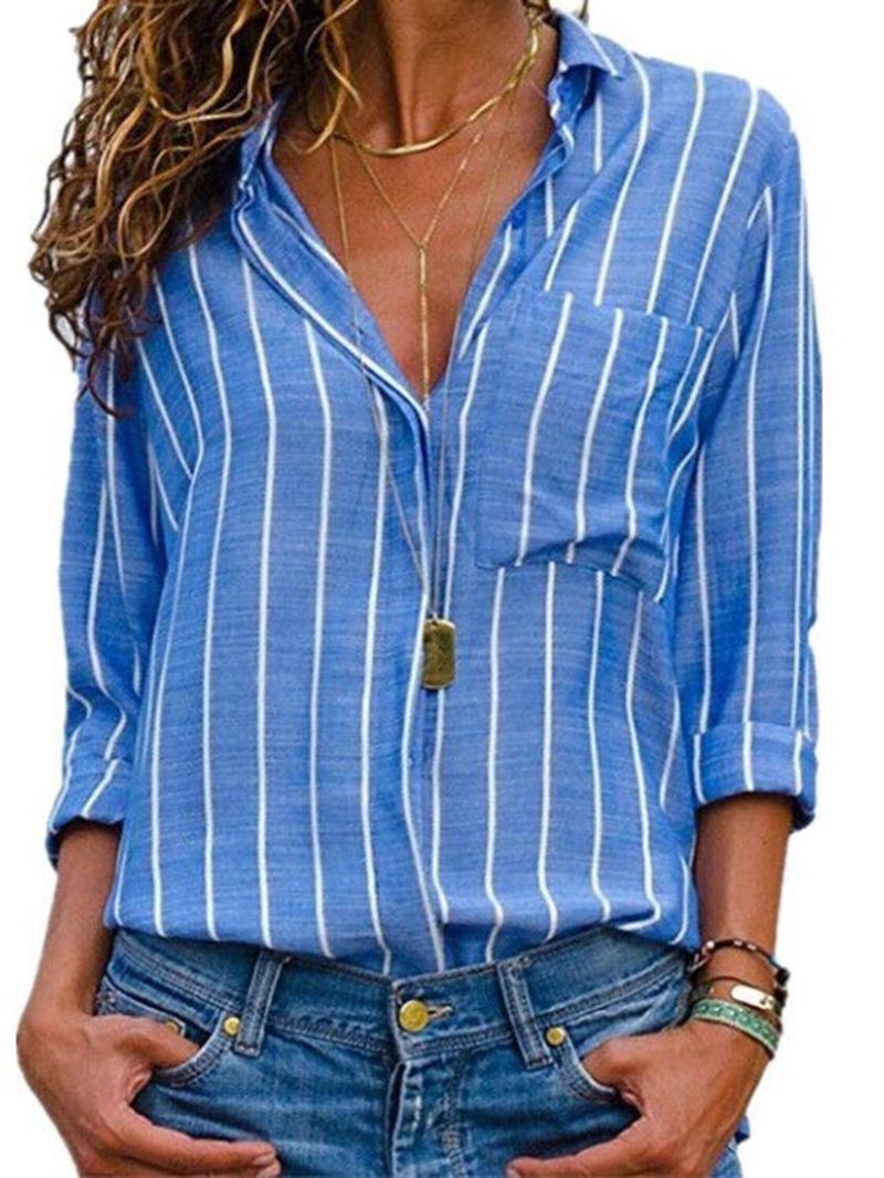 Ericdress Stripe Single-Breastel Long Sleeve Standard Blouse