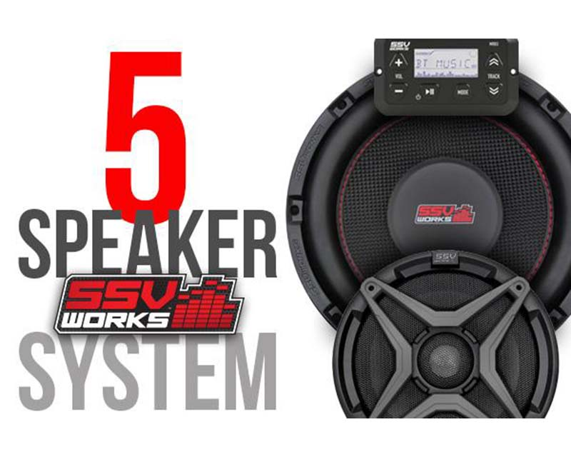 SSV Works RZ3-5A 5 Speaker Kit Plug And Play System 2/4 Seater Polaris RZR 900S|1000|1000S|Turbo
