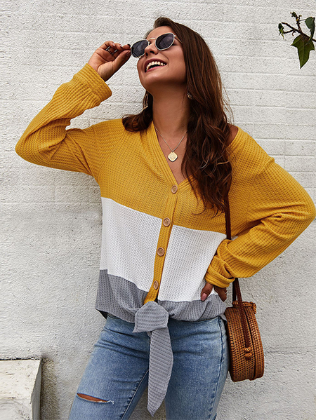 Yoins Yellow Color Blocking V-neck Button Front Knit Top