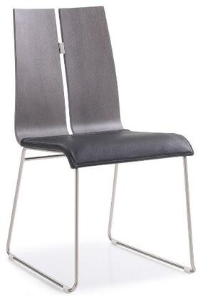 Lauren Collection DC1191-GRY-BLK Dining Chair with Oak Wood Veneer Material  Tall Backrest  Brushed Nickel Metal Frame and Faux Leather Uphosltery in