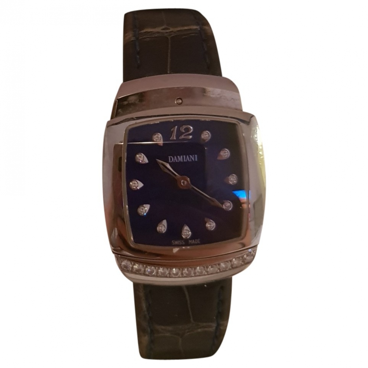 Non Signé / Unsigned \N Blue White gold watch for Women \N
