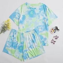 Pijamas de Talla Grande Tie-Dye Multicolor Casual