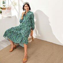 Floral Print Lantern Sleeve Dress