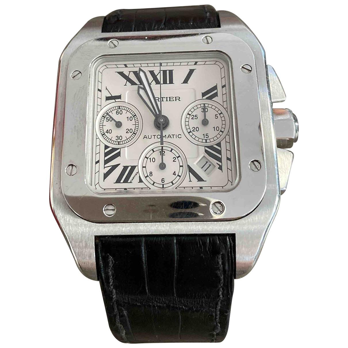 Cartier - Montre Santos 100 XL Chronographe pour homme en acier - argente