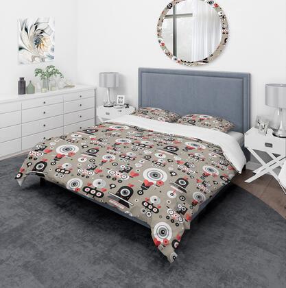 BED18906-Q Designart 'Pattern Amusing Lovers Robots' Modern & Contemporary Duvet Cover