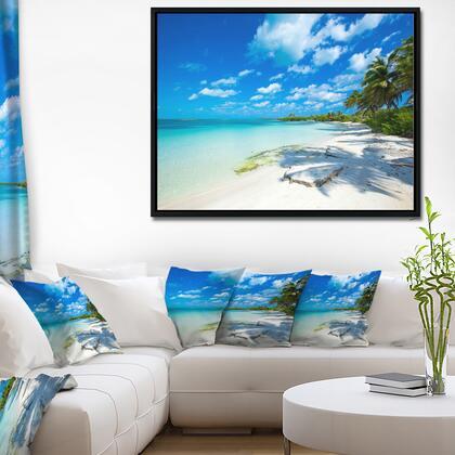 FL10382-42-32-FLB Tropical Beach With Palm Shadows - Large Seashore Framed Canvas Print -