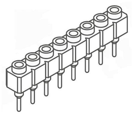 Samtec , SS 2.54mm Pitch 8 Way 1 Row Straight PCB Socket, Through Hole, Solder Termination