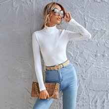 Rolled Neck Waffle Knit Tee