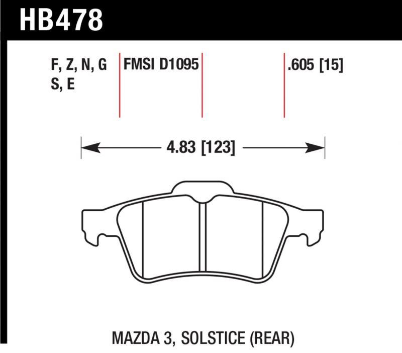Hawk Performance HB478S.605 Disc Brake Pad Rear