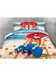 The Dog with Christmas Hat Enjoying Life Printing 4-Piece 3D Bedding Sets/Duvet Covers