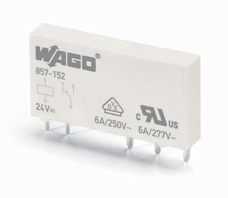 Wago , 60 V ac/dc, 230 V ac/dc Coil Non-Latching Relay, 6A Switching Current DIN Rail Single Pole