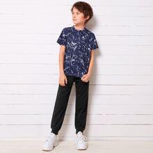 Boys Marble Print Print Tee & Sweatpants Set