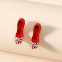 Pendientes con zapatos con diamante de imitacion