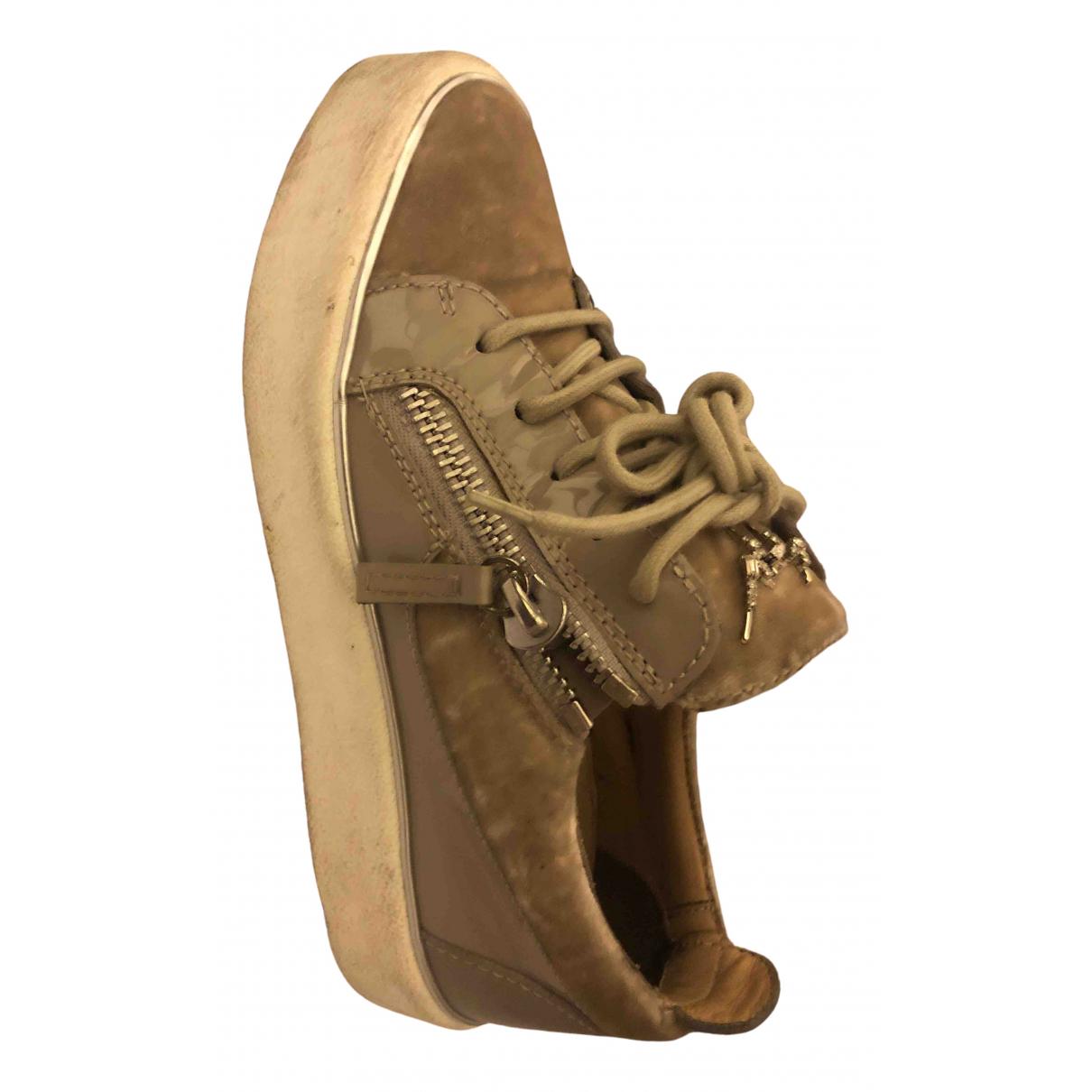 Giuseppe Zanotti Donna Sneakers in  Beige Samt