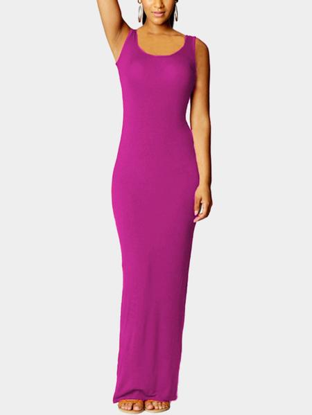 Yoins Dark Voilet  Scoop Neck Sleeveless Maxi Dress