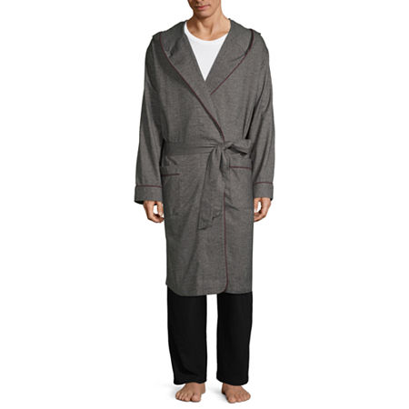 Stafford Flannel Hooded Robe, X-large-xx-large , Gray