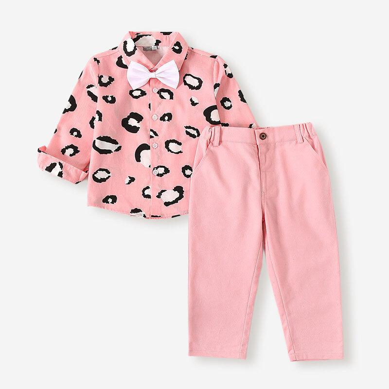 Boy's Leopard Print Long Sleeves Gentleman Suit For 2-8Y