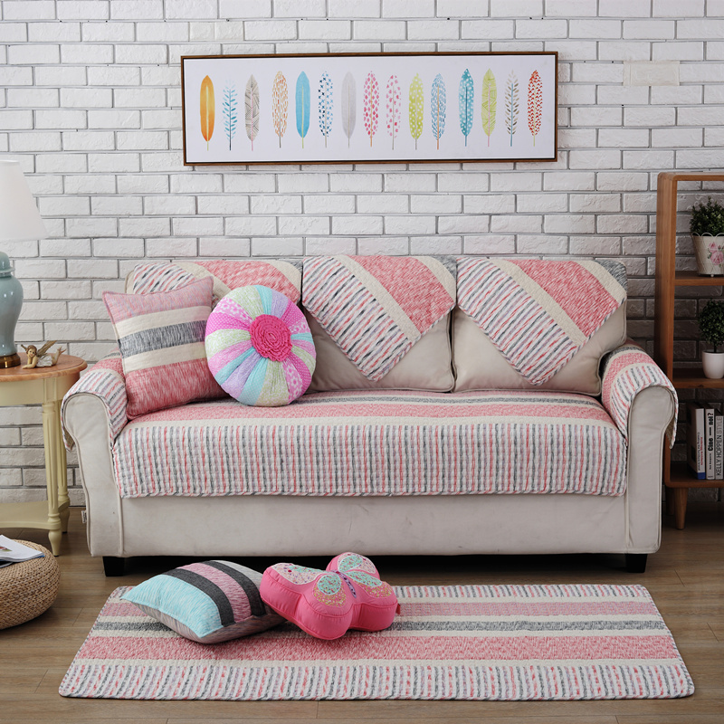 Pink Warm Strips Prints Four Seasons Slip Resistant Quilting Cushion Sofa Covers