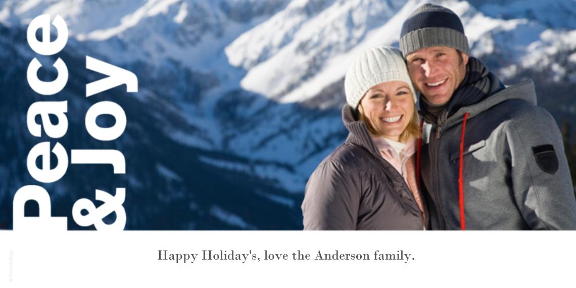 Holiday Photo Cards 4x8 Flat Card Set, 85lb, Card & Stationery -Peace & Joy