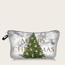 Christmas Tree & Letter Graphic Makeup Bag