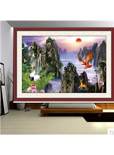 3D Elks Eagle and Doves with Sunrise Printed Blackout Curtain Roller Shade