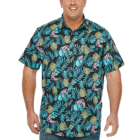 The Foundry Big & Tall Supply Co. Big and Tall Mens Short Sleeve Button-Down Shirt, 3x-large , Blue