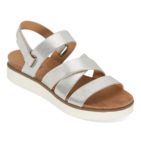 a.n.a Urika Womens Ankle Strap Footbed Sandals, 8 Medium, Silver