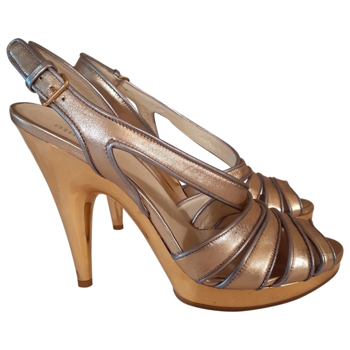 Miu Miu - Sandales   pour femme en cuir - metallise