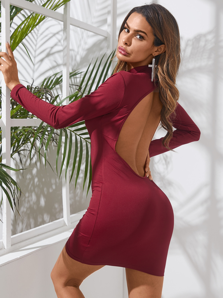 YOINS Backless Cut Out Crew Neck Long Sleeves Mini Dress