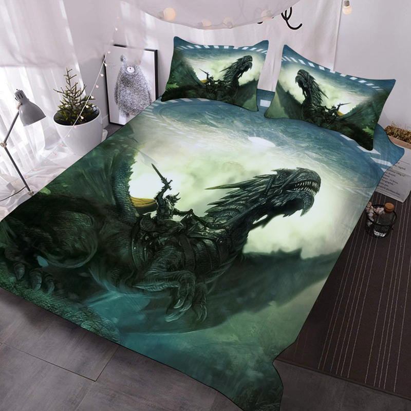 Green Dragon Soldier 3D Warm Animal Comforter 3-Piece Soft Comforter Sets with 2 Pillowcases