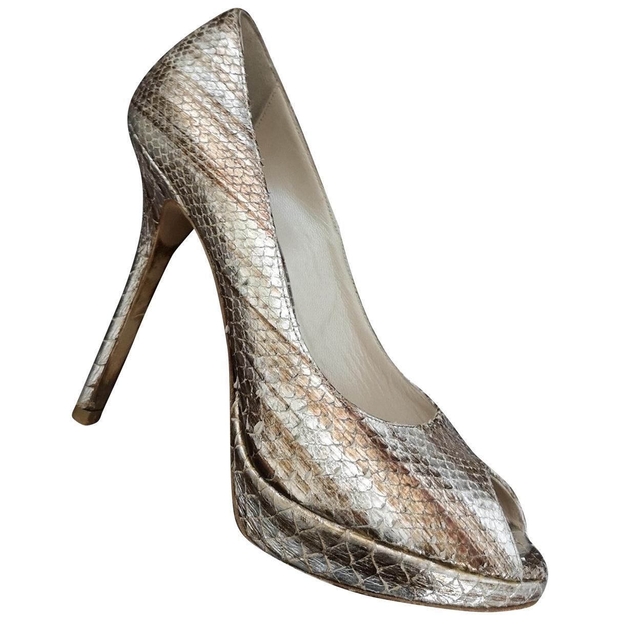 Dior - Escarpins Miss Dior Peep Toes pour femme en python - dore