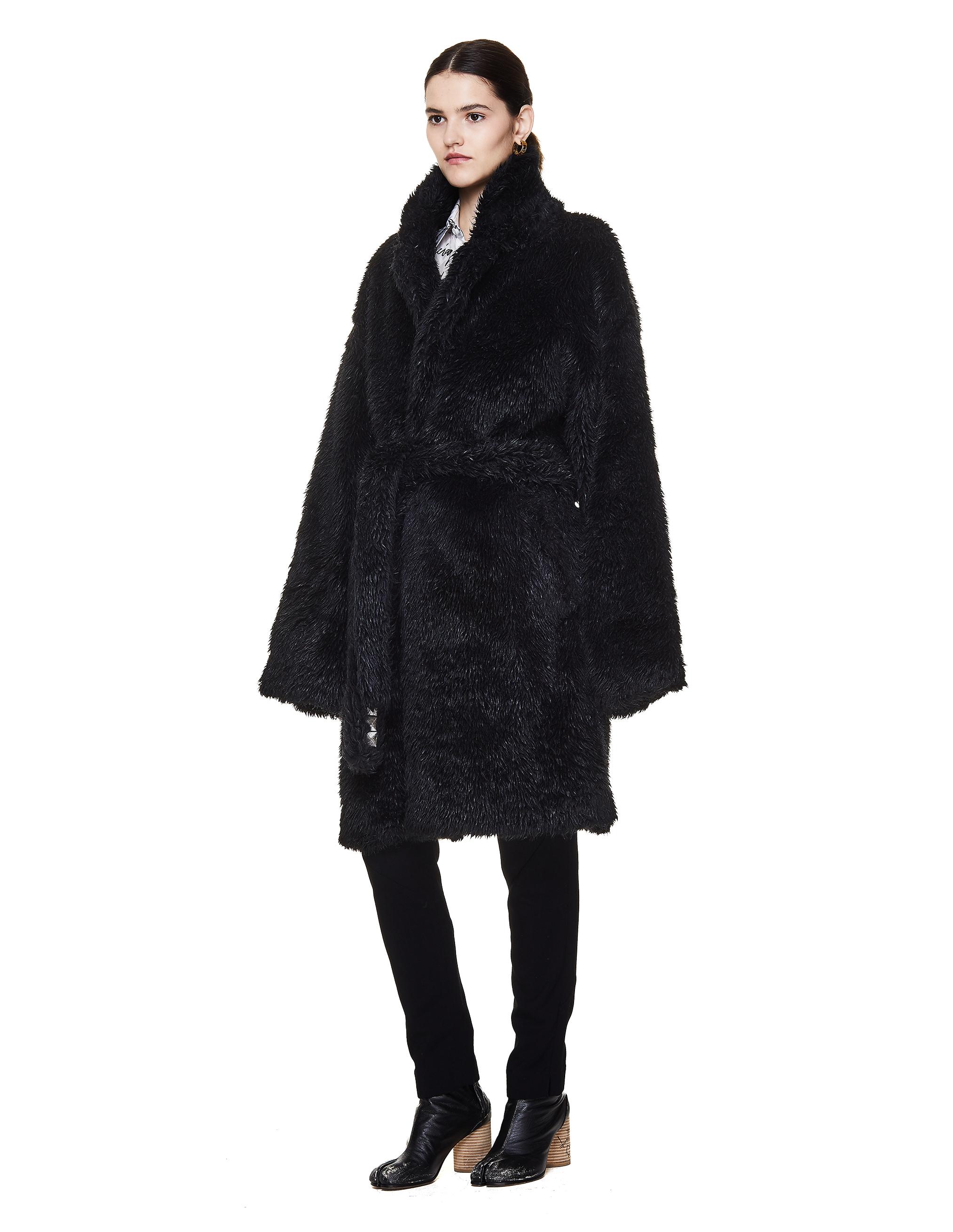 Doublet Black Embroidered Faux Fur Coat