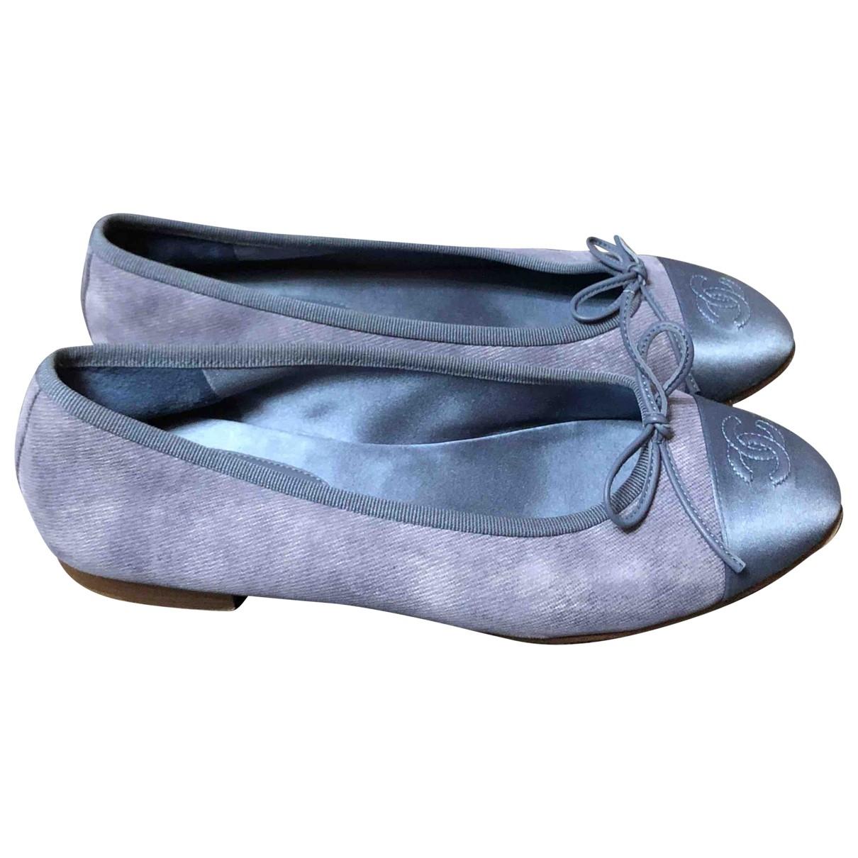 Chanel Cambon Ballerinas in  Blau Leinen