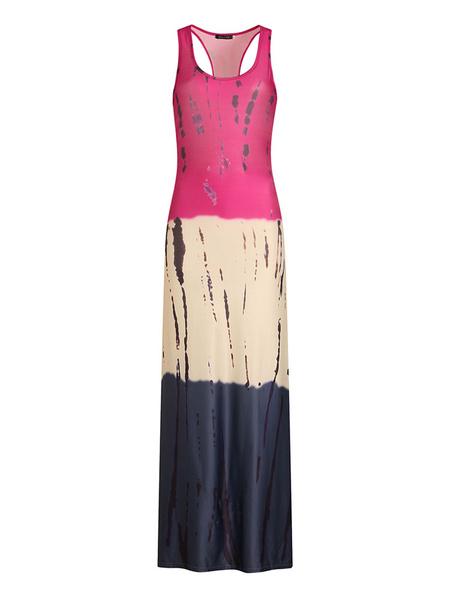 Milanoo Maxi Dress U Neck Sleeveless Printed Tank Beach Long Warp Dress For Women