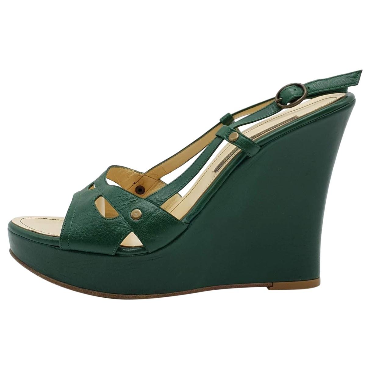 Pollini - Sandales   pour femme en cuir - vert