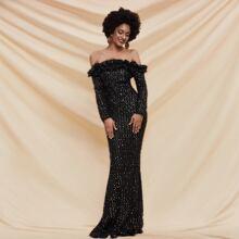 Ruffle Trim Fuzzy Sequin Mermaid Hem Prom Dress