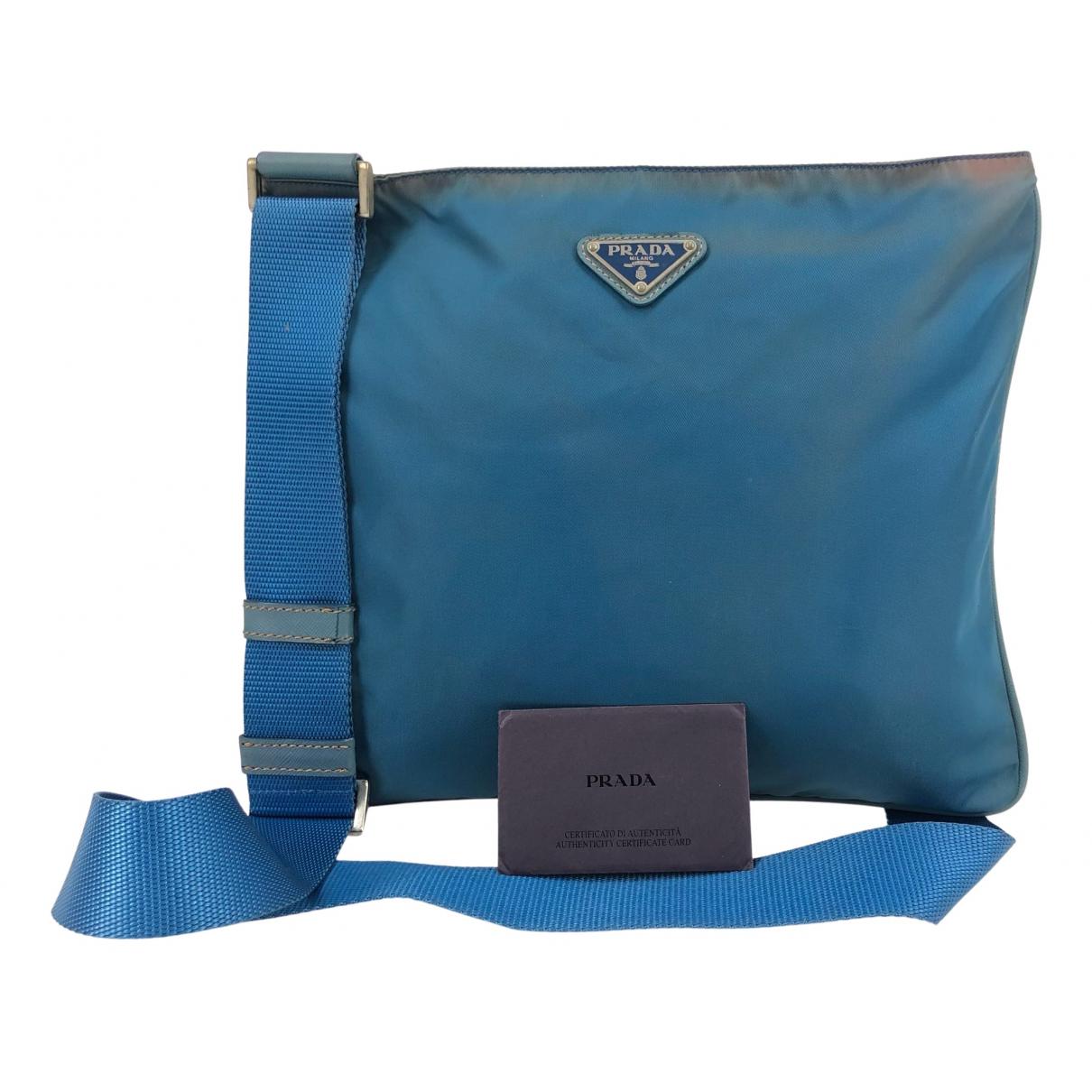 Prada - Sac a main   pour femme en toile - bleu