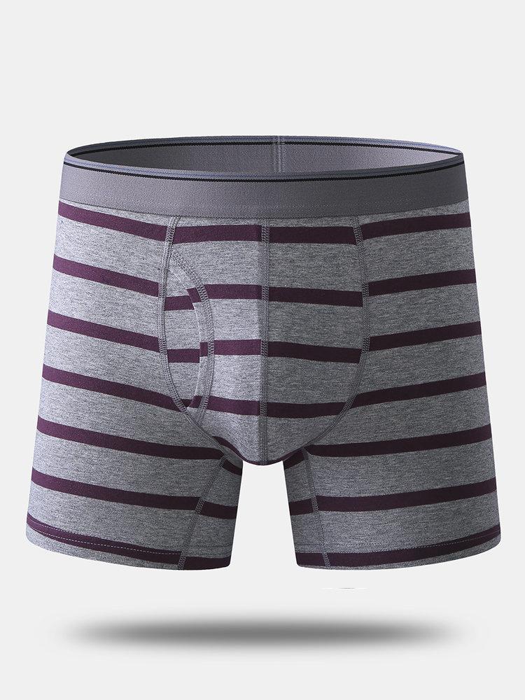 Men Striped Cotton Boxer Briefs Comfortable Anti Wear Legs Contour Pouch Underwear