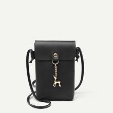 Metal Deer Detail Crossbody Bag