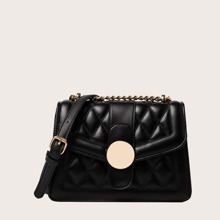 Metal Decor Quilted Flap Crossbody Bag