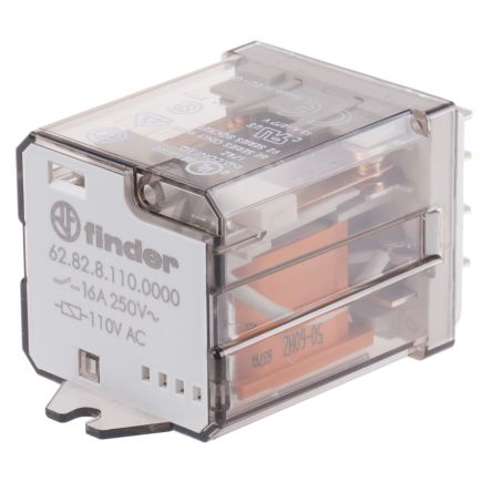 Finder DPDT power relay,16A 110Vac coil