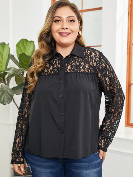 Yoins Plus Size Black Lace Button Front Long Sleeves Blouse