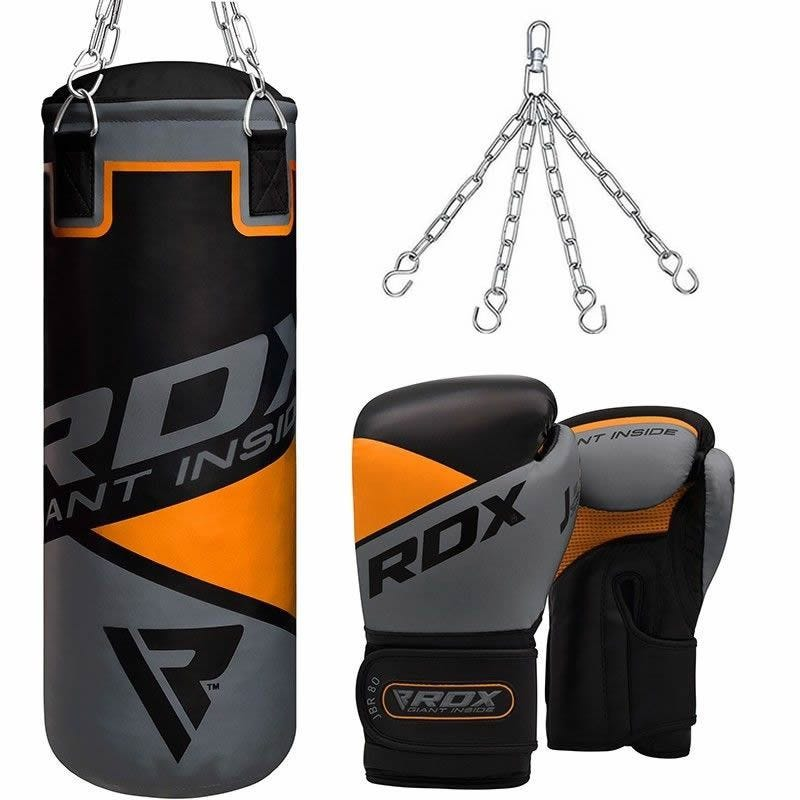 RDX 8O Kids Punch Bag Unfilled 2ft and Training Gloves Set Grey/Black/Orange