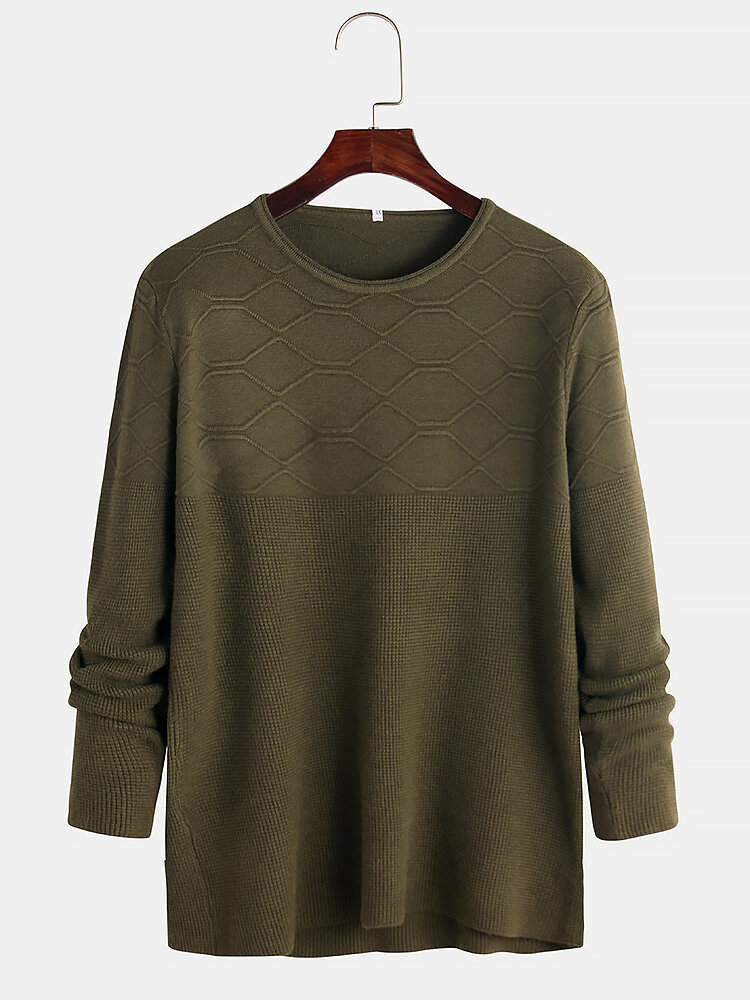 Mens Solid Color Plain Round Neck Long Sleeve Casual Kintting Sweaters
